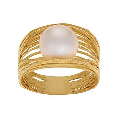 PearLustre by Imperial 14k Gold Freshwater Cultured Pearl Woven Ring