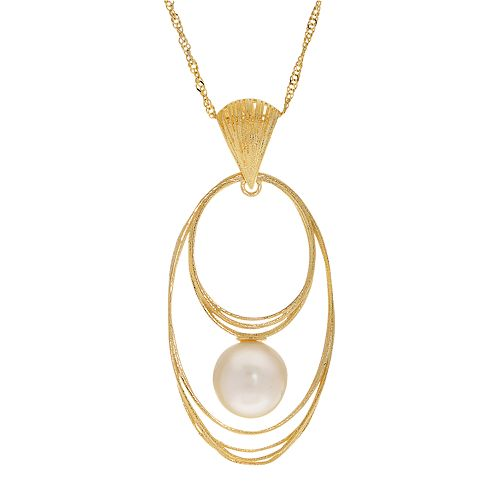 PearLustre by Imperial 14k Gold Freshwater Cultured Pearl Oval Woven Pendant