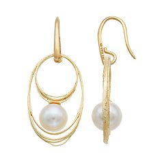 PearLustre by Imperial 14k Gold Freshwater Cultured Pearl Hoop Drop Earrings