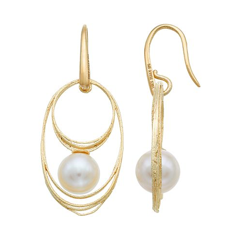 PearLustre by Imperial 14k Gold Freshwater Cultured Pearl Hoop Drop Earrings