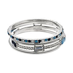Mixed Blue Bangle Bracelet Set
