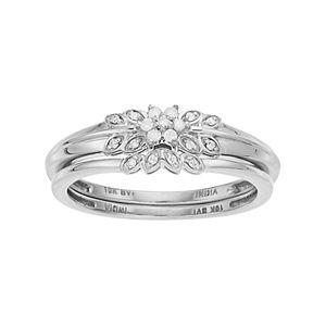 10k Gold 1/10 Carat T.W. Diamond Flower Engagement Ring Set