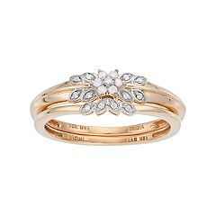 10k Gold 1/10 Carat T.W. Diamond Flower Engagement Ring Set