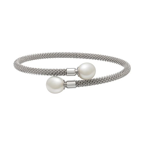 Sterling Silver Freshwater Cultured Pearl Mesh Bypass Bangle Bracelet