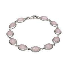 Sterling Silver Rose Quartz Link Bracelet