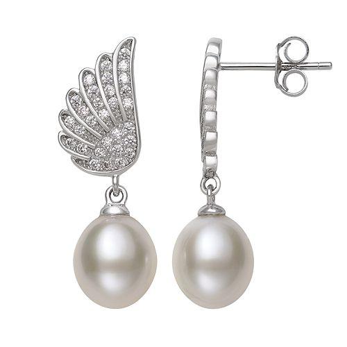 Sterling Silver Freshwater Cultured Pearl & Cubic Zirconia Wing Drop Earrings