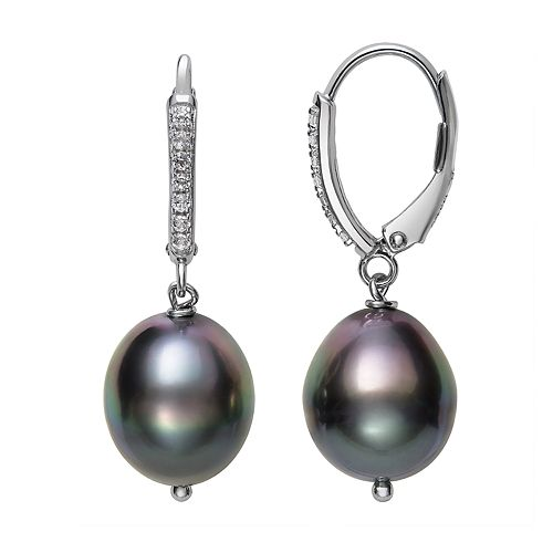 Sterling Silver Tahitian Cultured Pearl & White Topaz Leverback Earrings