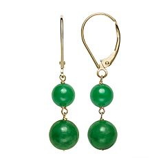 14k Gold Jade Leverback Drop Earrings