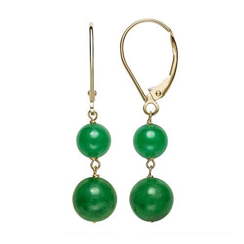 14k Gold Jade Leverback Drop Earrings