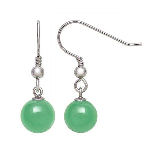 Sterling Silver Jade Fishhook Drop Earrings