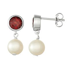 Sterling Silver Garnet & Freshwater Cultured Pearl Drop Earrings