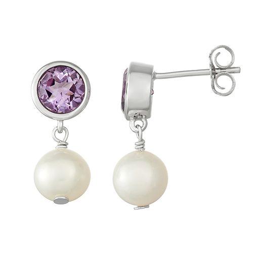 Sterling Silver Amethyst & Freshwater Cultured Pearl Drop Earrings