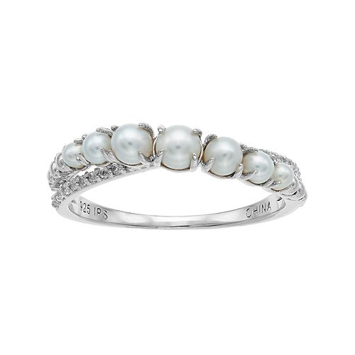 PearLustre by Imperial Sterling Silver Freshwater Cultured Pearl & White Topaz Graduated Ring