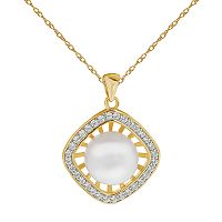 PearLustre by Imperial 14k Gold Over Silver Freshwater Cultured Pearl & White Topaz Square Halo Pendant