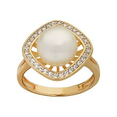 PearLustre by Imperial 14k Gold Over Silver Freshwater Cultured Pearl & White Topaz Square Halo Ring