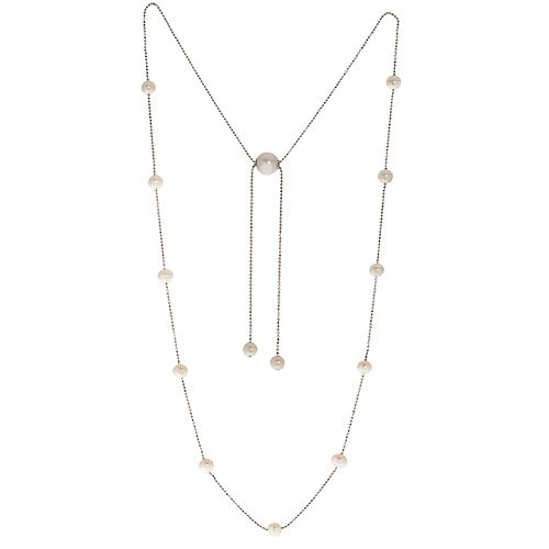 PearLustre by Imperial Sterling Silver Freshwater Cultured Pearl Station Bolo Necklace