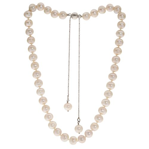 PearLustre by Imperial Sterling Silver Freshwater Cultured Pearl Bolo Necklace