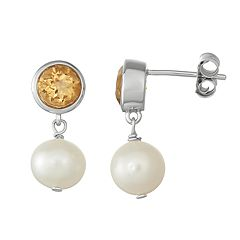 Sterling Silver Citrine & Freshwater Cultured Pearl Drop Earrings