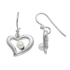 PearLustre by Imperial Sterling Silver Freshwater Cultured Pearl Heart Drop Earrings