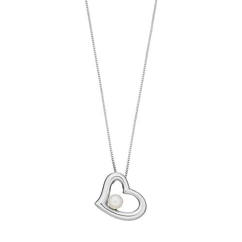 PearLustre by Imperial Sterling Silver Freshwater Cultured Pearl Heart Pendant