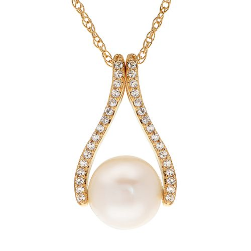 PearLustre by Imperial 14k Gold Freshwater Cultured Pearl & White Topaz Pendant