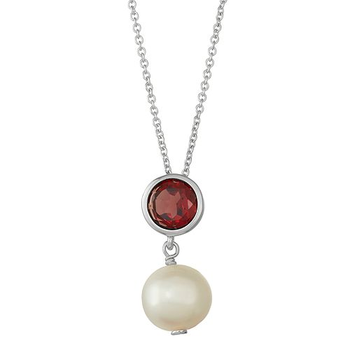 Sterling Silver Garnet & Freshwater Cultured Pearl Pendant