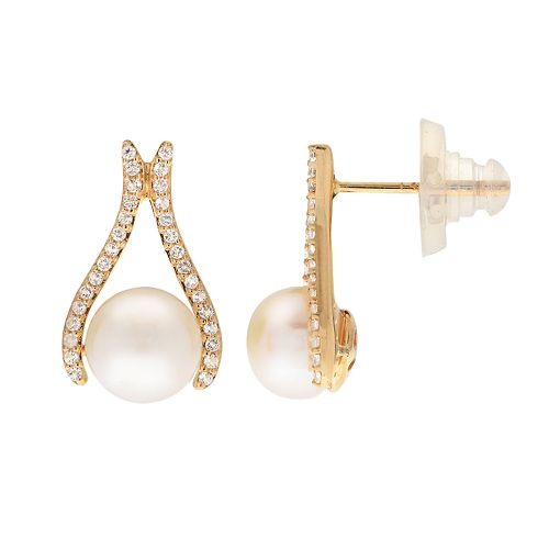 14k Gold Freshwater Cultured Pearl & White Topaz Drop Earrings