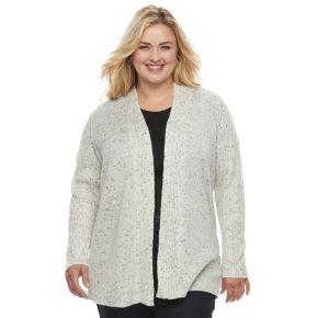 Plus Size Croft & Barrow® Ribbed Sleeve Cardigan