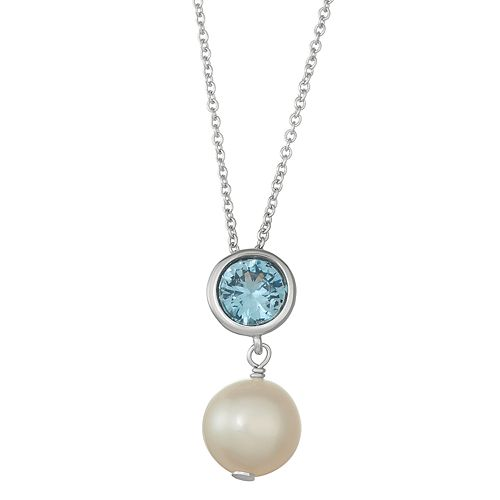 Sterling Silver Lab-Created Blue Spinel & Freshwater Cultured Pearl Pendant