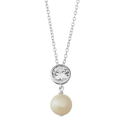 Sterling Silver Lab-Created White Sapphire & Freshwater Cultured Pearl Pendant