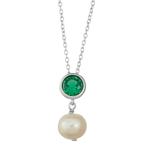 Sterling Silver Lab-Created Green Spinel & Freshwater Cultured Pearl Pendant