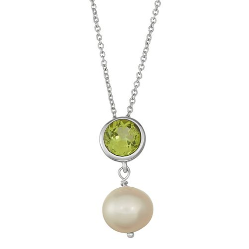 Sterling Silver Peridot & Freshwater Cultured Pearl Pendant