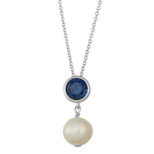 Sterling Silver Lab-Created Sapphire & Freshwater Cultured Pearl Pendant
