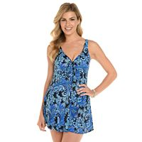 Women's Croft & Barrow® Thigh Minimizer Bow-Front Swimdress