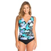 Women's Croft & Barrow® Waist Minimizer Shirred One-Piece Swimsuit