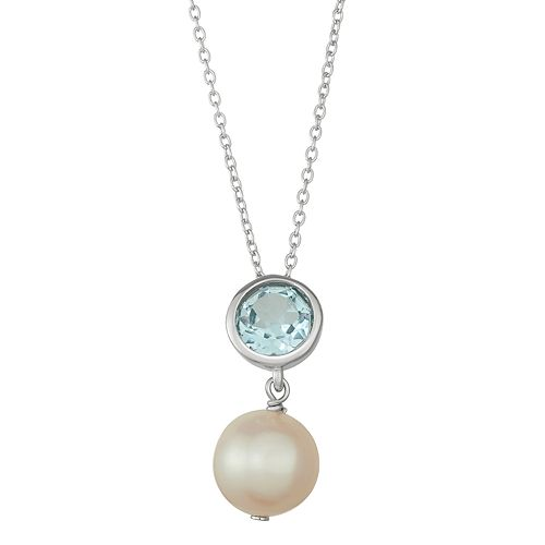 Sterling Silver Blue Topaz & Freshwater Cultured Pearl Pendant