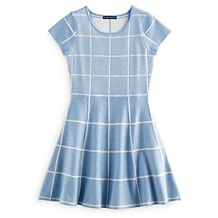 Girls 7-16 My Michelle Grid Skater Dress