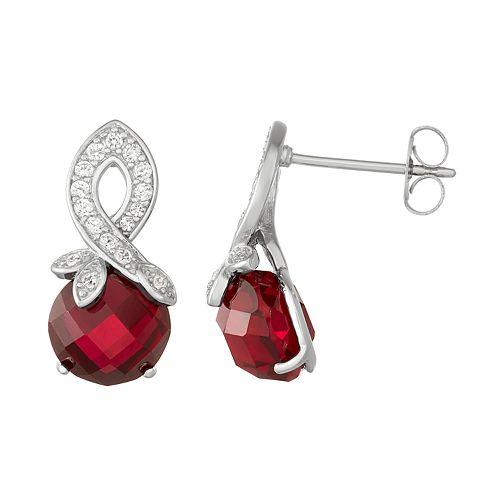 Sterling Silver Lab-Created Ruby & White Sapphire Swirl Drop Earrings