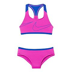 Girls 7-14 Nike Racerback Macro Swoosh Sport Bikini Top & Bottoms Swimsuit Set