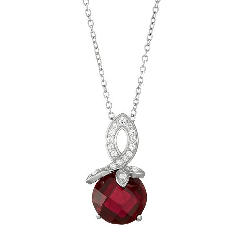 Sterling Silver Lab-Created Ruby & White Sapphire Swirl Pendant Necklace