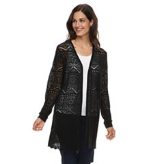 Petite Napa Valley Pointelle Open-Front Cardigan