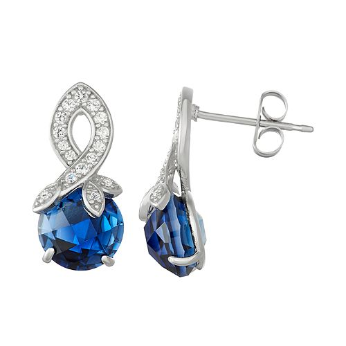 Sterling Silver Lab-Created Blue & White Sapphire Swirl Drop Earrings