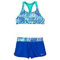 Girls 7-14 Nike Racerback Bikini Top & Shorts Swimsuit Set