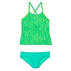 Girls 7-14 Nike Spiderback Tankini Top & Bottoms Swimsuit Set