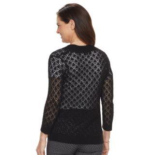 Petite Napa Valley Open-Stitch Crochet Cardigan