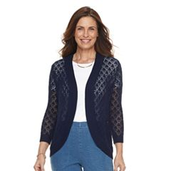 Petite Napa Valley Open-Stitch Crochet Cardigan
