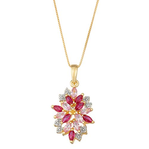 14k Gold Over Silver Lab-Created Ruby & Sapphire Cluster Pendant Necklace