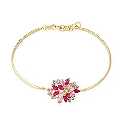 14k Gold Over Silver Lab-Created Ruby & Sapphire Cluster Bracelet