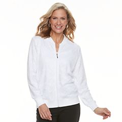 Petite Napa Valley Open-Lace Bomber Jacket