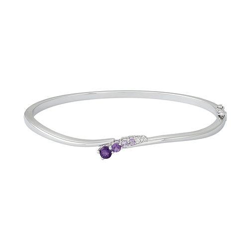 Sterling Silver Pink & Purple Amethyst & Lab-Created White Sapphire Wavy Bracelet